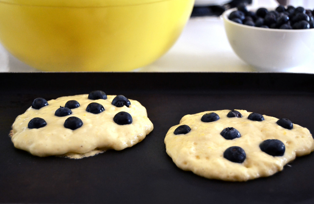 blueberry pancakes frying