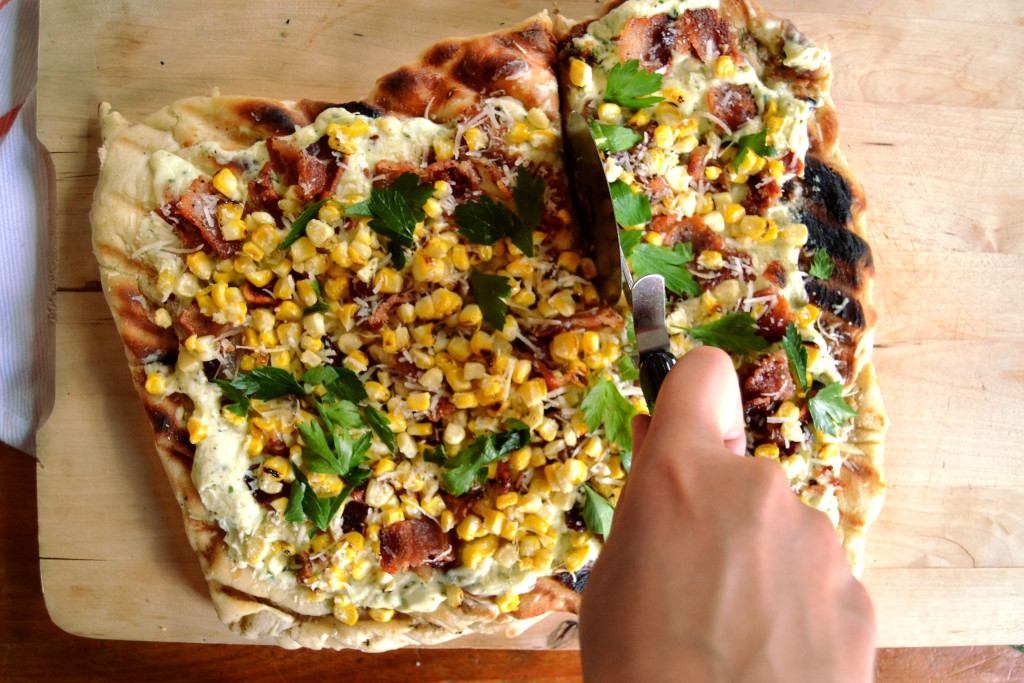 corn bacon flatbread