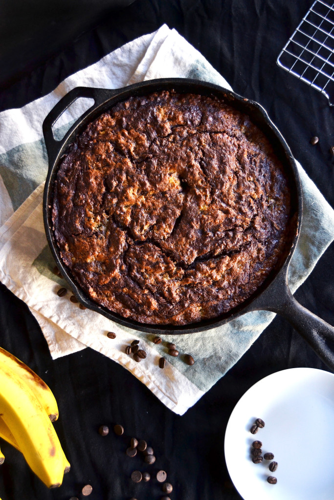 chocolate espresso skillet banana bread