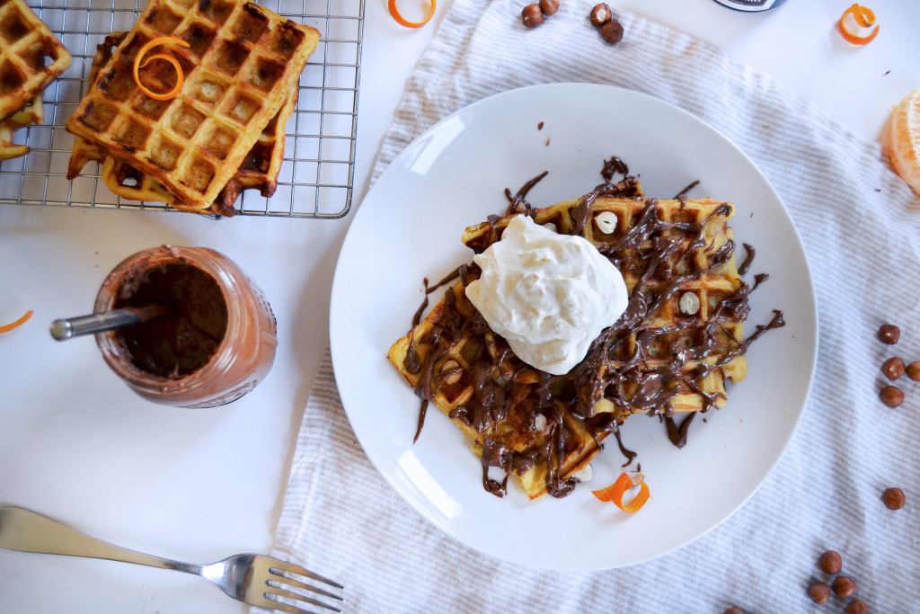 crispy orange waffles and homemade nutella