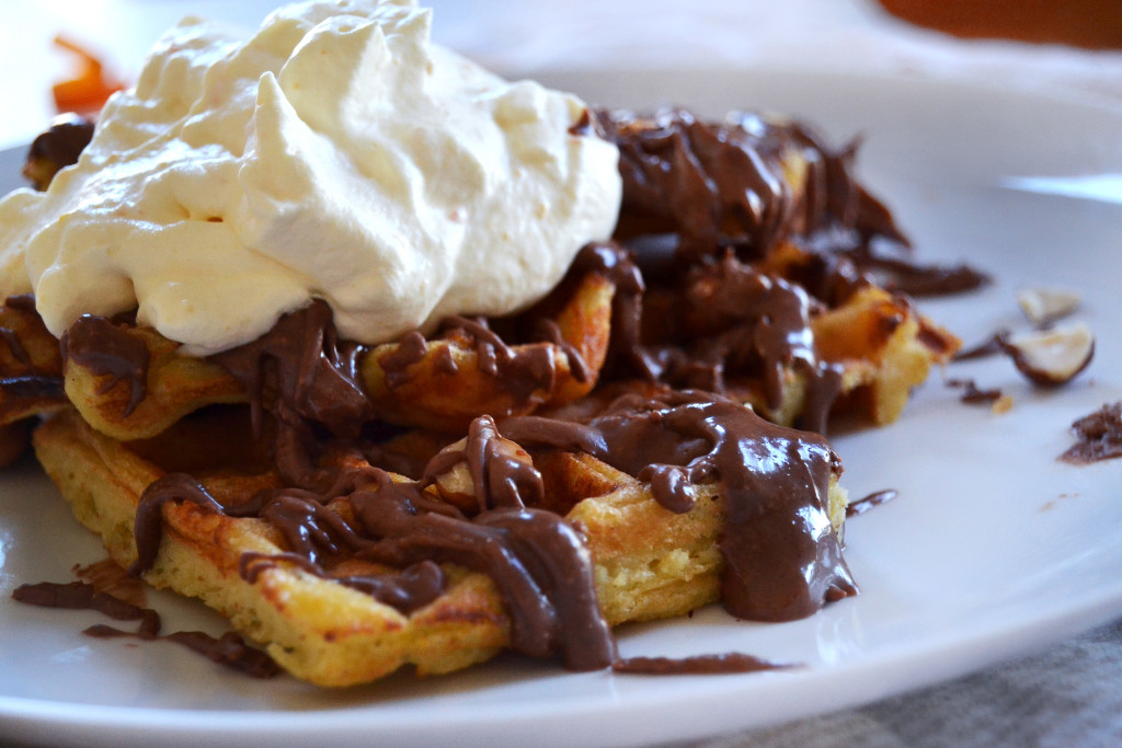 orange waffles and chocolate hazelnut