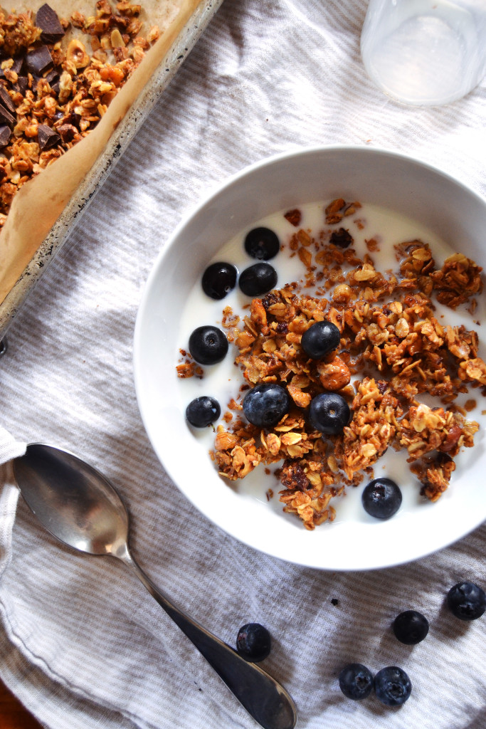 nutty granola with almond milk