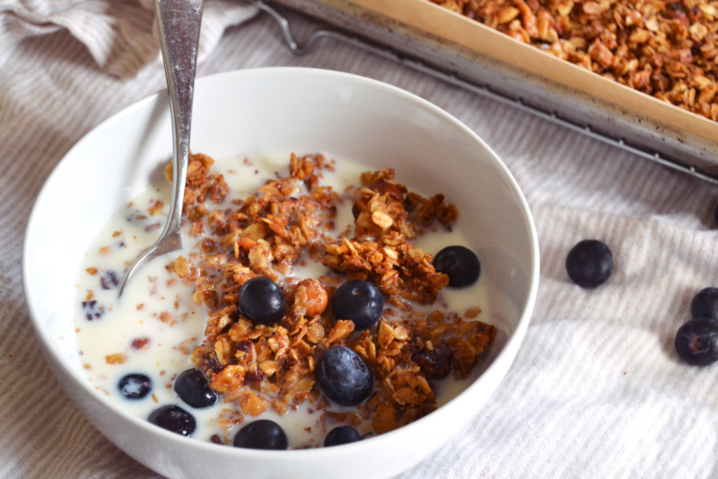 nutty granola with blues