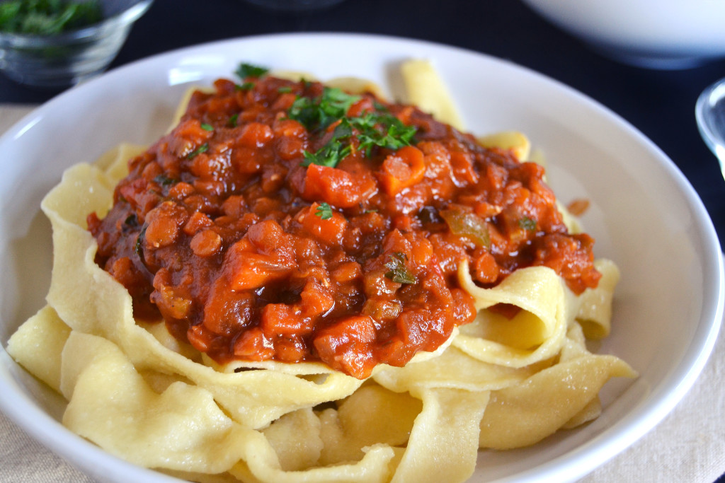 tagliatelle with vegan ragu