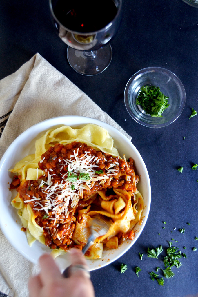 tagliatelle with vegetarian ragu