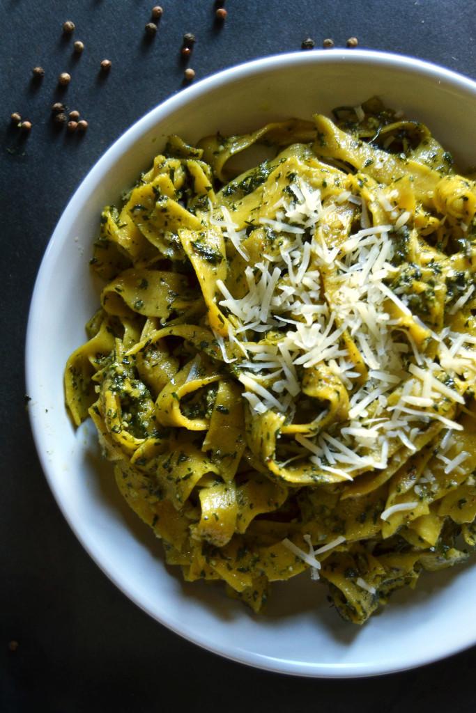 Carrot Pasta with Carrot Top Pesto