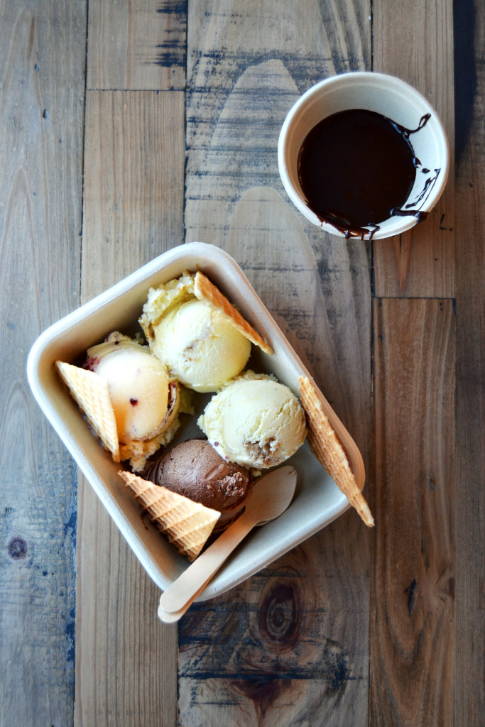 Honeycomb Creamery Cambridge Ice Cream Flight with Hot Fudge