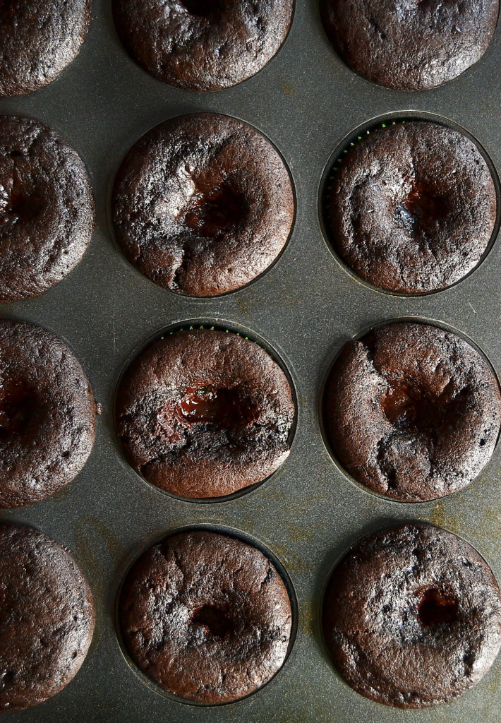 Chocolate cupcakes with gooey ganache filling