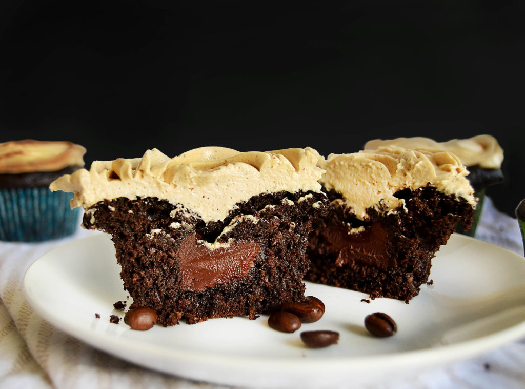 cross-section of chocolate filled mocha cupcakes